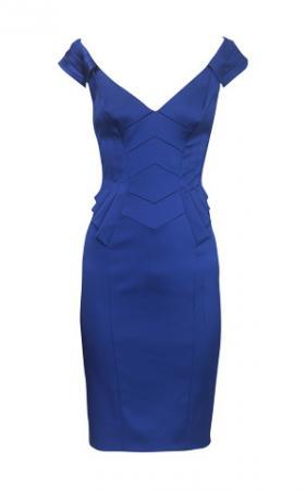 km-DH007.  Коктейльное платье-футляр синее.